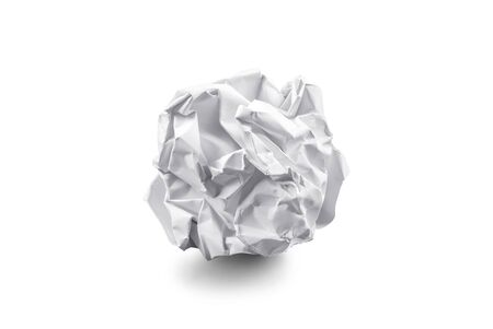 close-up of crumpled paper ball on white background Stock Photo