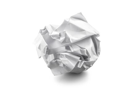 crinkly: close-up of crumpled paper ball on white background Stock Photo