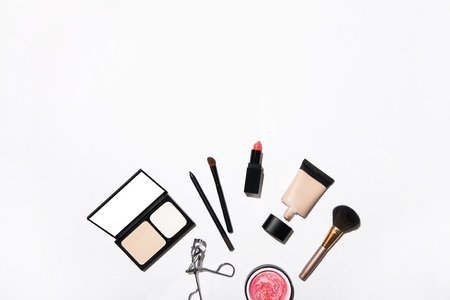cosmetics products: Top view of different cosmetics products Stock Photo