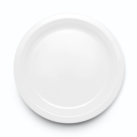 concave: Empty plate. Isolated on white background. View from above