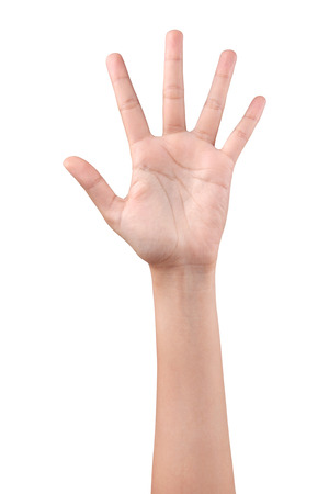 Woman left hand showing the five fingers isolated on a white background