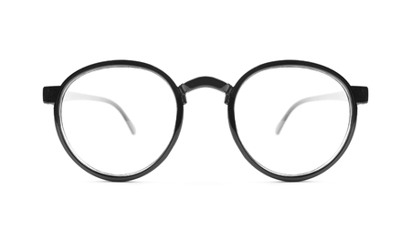 Nerd glasses on isolated white background, perfect reflection Stock Photo