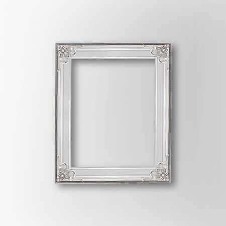 silver frame: antique silver frame isolated on gray background Stock Photo