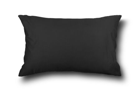 close up of a black pillow on white background Stock Photo
