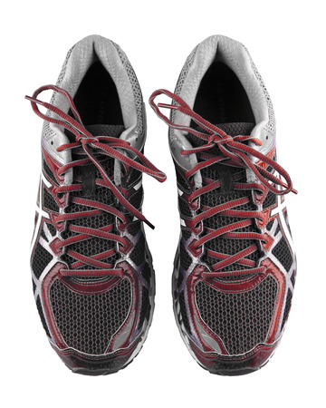 Black running shoes, isolated on white background