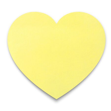 yellow notepad: Heart shaped post it note pad on white background with clipping path Stock Photo