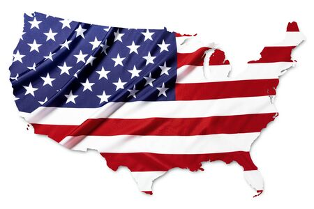 The American flag in the shape of the United States on whiite background with clipping path