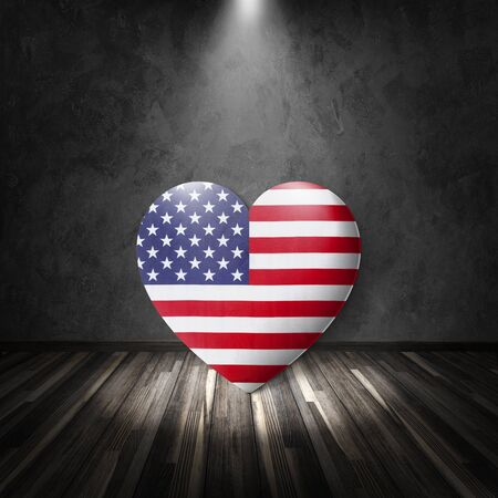 mack: Heart on black wall mack up for independence day of America Stock Photo