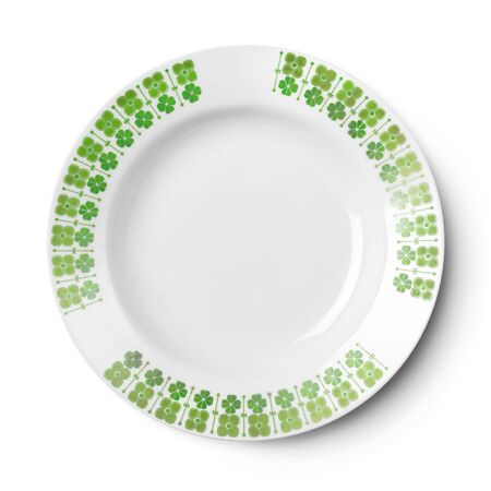 Empty plate pattern design . Isolated on white background. View from above with clipping path