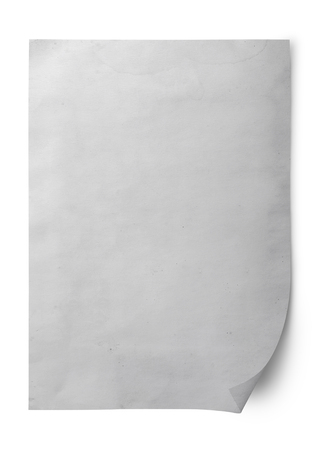 Isolated shot of blank old paper on white background and shadow with clipping path