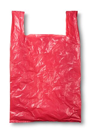 Red plastic bag on white and shadow with clipping path