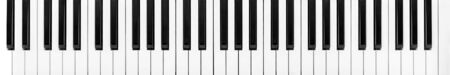 Piano keys viewed from above for music