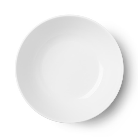 Empty plastic round plate isolated on white with clipping path Imagens