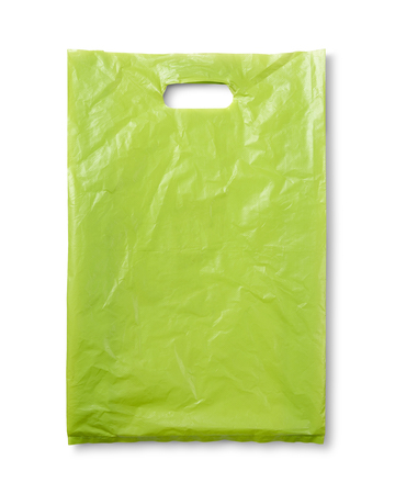 Green plastic bag on white and shadow with clipping path Stock Photo