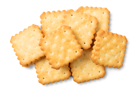 Dry crackers and cream cheese isolate on white background with clipping path