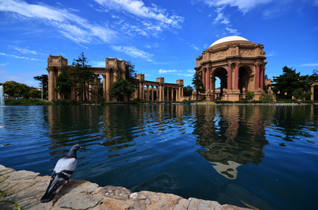 francisco: Palace of fine art Bird, clear blue sky Editorial