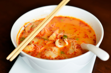 thai noodle soup: Hot and sour seafood thai noodle soup Stock Photo