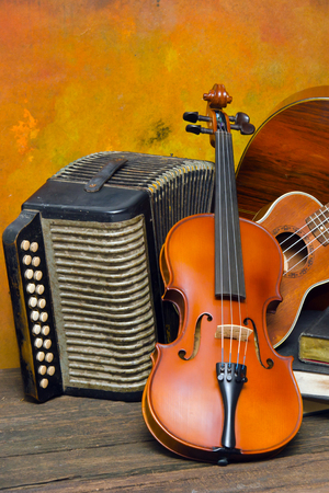 Violin, guitar and books on still-life wooden background Imagens