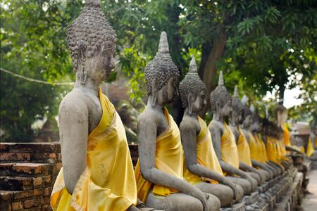 buddhist temple: Series of buddha in an old Thai temple at Ayuthaya Thailand Stock Photo