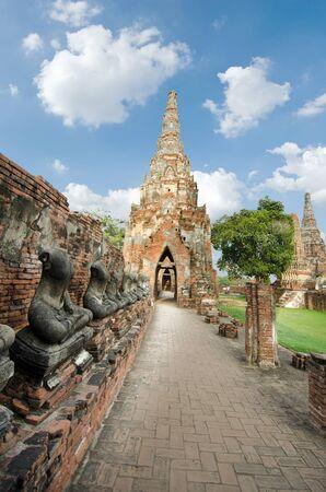 thai buddha: Series of buddha in an old Thai temple at Ayuthaya Thailand Stock Photo