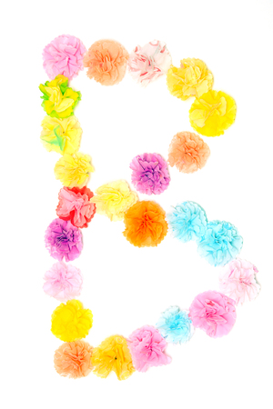 letter paper: Colorful paper craftwork of flowers