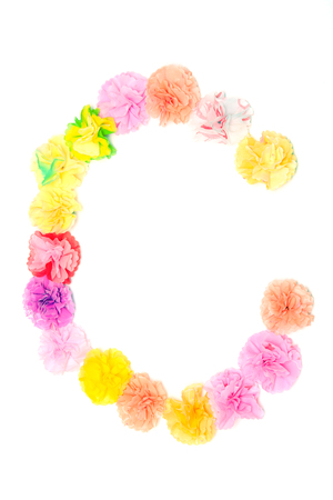 letter c: Colorful paper craftwork of flowers