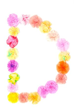 decorative letter: Colorful paper craftwork of flowers