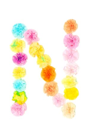 papier lettre: Colorful paper craft work of flowers as alphabet