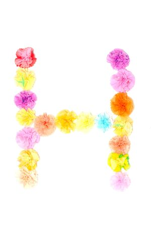 sign h: Colorful paper craft work of flowers as alphabet