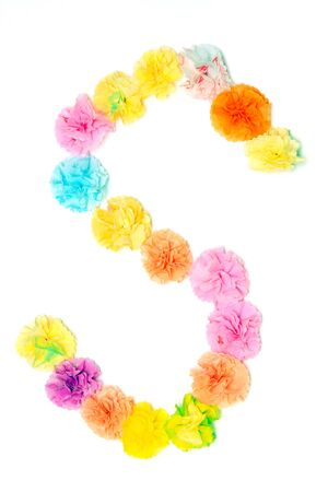 s alphabet: Colorful paper craft work of flowers as alphabet