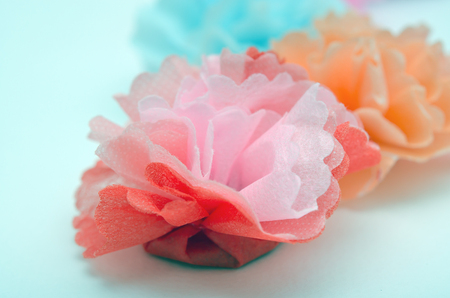papercraft: Colorful paper craftwork of flowers