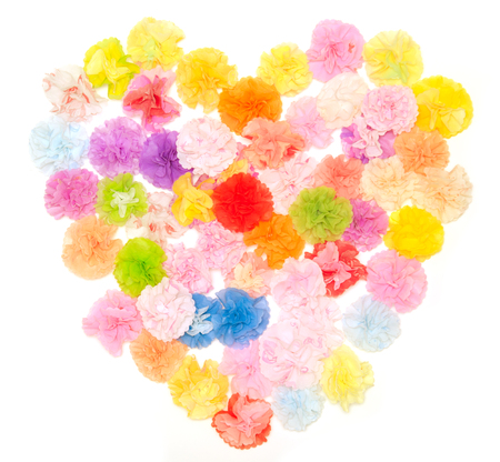 craftwork: Colorful paper craftwork of flowers in heart shape