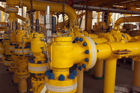 offshore industry: Pipe work and safety valve in oil and gas offshore industry