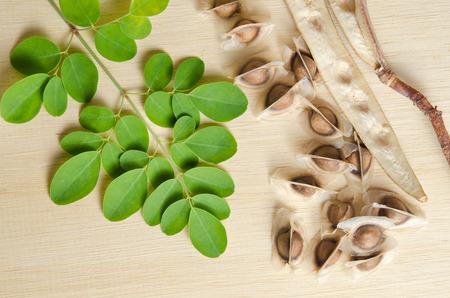 Moringa (Other names are Moringa oleifera Lam., MORINGACEAE, Futaba kom hammer, vegetable hum hum bug, Moringa bug Hoo) leaf and seed