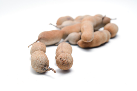 cucurbitaceae: Tamarind or bitter gourd (Other names are Cucurbitaceae, bitter gourd, balsam apple, balsam pear, bitter cucumber, bitter melon, tamarind) group isolated on white background