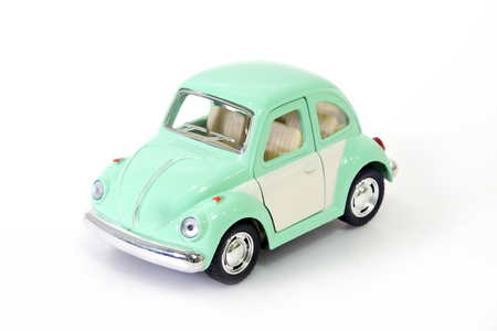 mini car: Mini car model closeup view isolated on white background Stock Photo