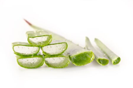 Aloe Vera (Also called as Aloe barbadensis Mill., Star cactus, Aloe, Aloin, Jafferabad, vera or Barbados) a very useful herbal medicine for skin treatment and use in spa for skin care. Stock Photo