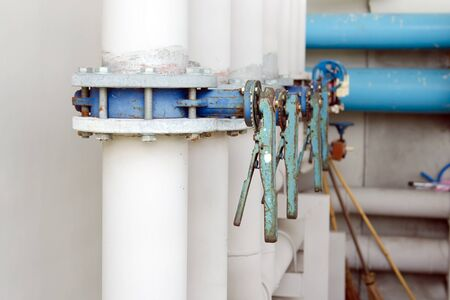 flanges: The series of butterfly valves with flanges on supply water piping Stock Photo