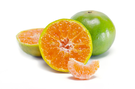 citrus     sinensis: Orange fruit (Other names are Les Oranger, sweet orange, citrus sinensis, Citrus aurantium, Citrus maxima, Citrus reticulate, mandarin orange) with half view isolated on white background Stock Photo