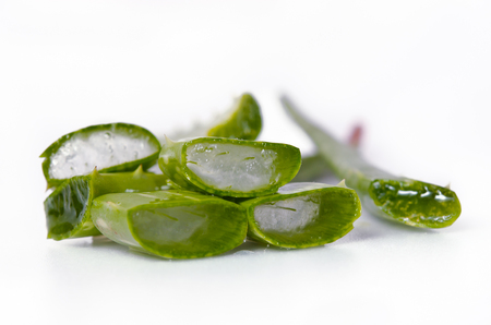 obtained: Aloe vera is a gelatinous substance obtained from a kind of aloe, used especially in cosmetics as an emollient and for the treatment of burns Stock Photo