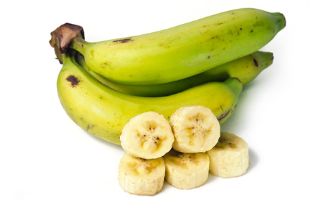 musa: Banana (Other names are Musa banana acuminata, Musa balbisiana, and Musa x paradisiaca) fruit with leaf Stock Photo