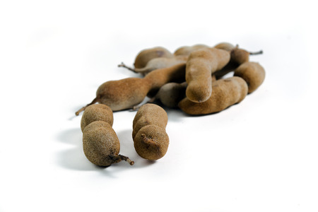 cucurbitaceae: Tamarind (Other names are Cucurbitaceae, bitter gourd, balsam apple, balsam pear, bitter cucumber, bitter melon) isolated on white background
