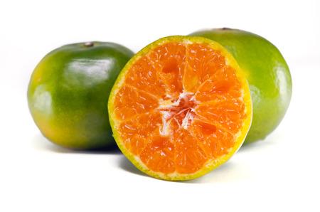 citrus aurantium: Orange fruit (Other names are Les Oranger, sweet orange, citrus sinensis, Citrus aurantium, Citrus maxima, Citrus reticulate, mandarin orange) with half view isolated on white background Stock Photo
