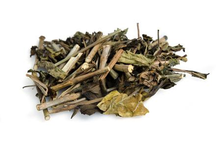 dainty: Snake jasmine dried and isolated on white (also named as Rhinacanthus nasutus Kurz, kabutar ka phul, gajkarni, yuthikaparni, nagamalle, tagak, tagak-tagak, Dainty spure, or Thong pun chung) Stock Photo
