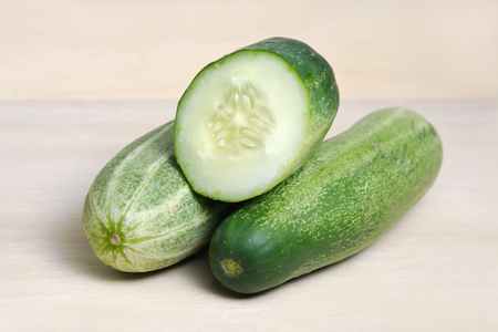 cucurbitaceae: Fresh cucumber (also named as Cucumis sativus, cucurbitaceae, Cucumis cucumber, or wild cucumber) isolated on white background Stock Photo