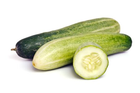 cucumis sativus: Fresh cucumber (also named as Cucumis sativus, cucurbitaceae, Cucumis cucumber, or wild cucumber) isolated on white background Stock Photo