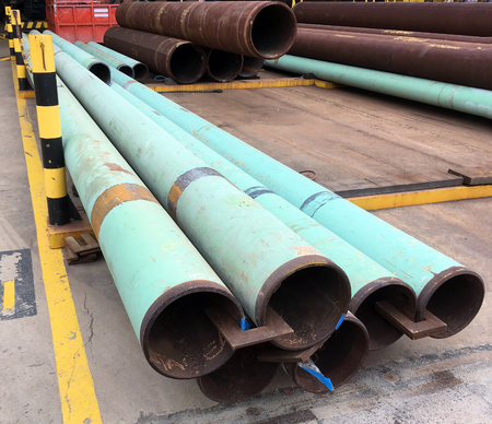 offshore industry: Pipe work structural steel in oil and gas offshore industry in a fabrication yard
