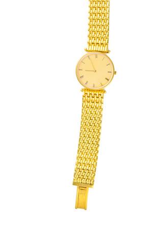 cronógrafo: Reloj de oro de lujo aislado sobre fondo blanco con espacio de texto copia en blanco en vista vertical para decoración Foto de archivo