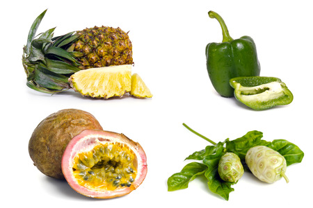 noni: Pineapple, sweet pepper, passion fruit and noni fruit grouped and isolated on white background