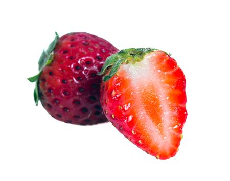 Strawberry fruit (Also named as Fragaria strawberry or Fragaria ananassa berry) isolated on white background  Stock Photo